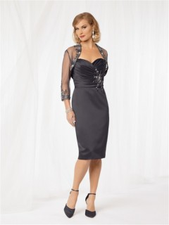 Sexy sheath tea length grey taffeta mother of the bride dress with jacket