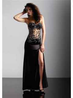 Sexy sweetheart see throgh long black forever unique prom dress with beading and slit
