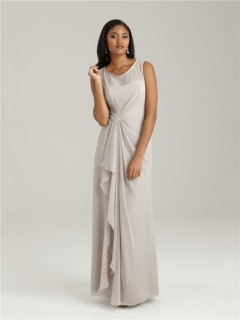 Sheath/Column scoop long light grey chiffon modest bridesmaid dress with ruffles