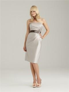 Sheath/Column sweetheart short silver silk crystal bridesmaid dress with sash