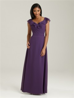 Sheath/Column V neck long purple chiffon bridesmaid dress with cap sleeves and ruffles