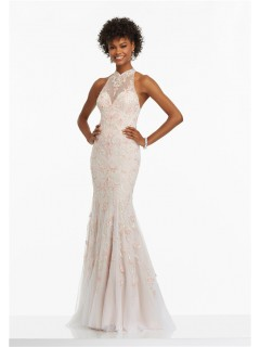 Sheath High Neck Open Back Long Ivory Tulle Beaded Prom Dress