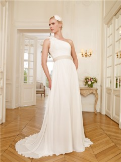 Sheath One Shoulder Chiffon Beaded Belt Beach Wedding Dress With Flowers Feathers