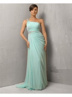 Sheath One Shoulder Long Mint Green Chiffon Evening Dress With Beading