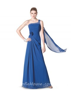 Sheath One Shoulder Royal Blue Chiffon Beaded Long Evening Dress With Flowers Sash