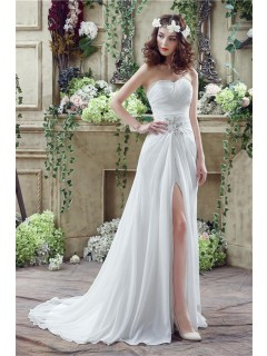 Sheath Strapless High Slit Corset Back Chiffon Beach Wedding Dress