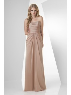 Sheath Strapless Long Champagne Chiffon Draped Formal Occasion Bridesmaid Dress