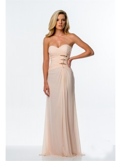 Sheath Strapless Peach Chiffon Ruched Long Evening Prom Dress Cut Outs