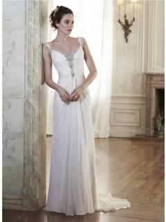 Sheath Sweetheart Draped Chiffon Crystal Wedding Dress With Straps