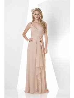 Sheath Sweetheart Long Champagne Chiffon Ruffle Wedding Guest Bridesmaid Dress Spaghetti Straps