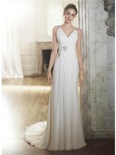 Sheath V Neck Chiffon Draped Wedding Dress With Cross Straps