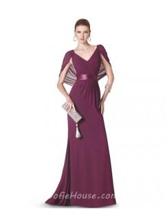 Sheath V Neck Long Burgundy Chiffon Evening Dress With Shawl Sash