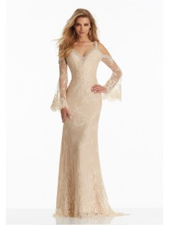 Sheath V Neck Long Sleeve Champagne Lace Beaded Boho Prom Dress