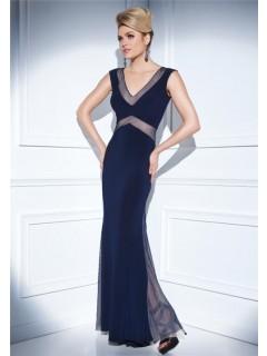 Sheath V Neck Sheer See Through Back Long Navy Blue Chiffon Mesh Evening Dress