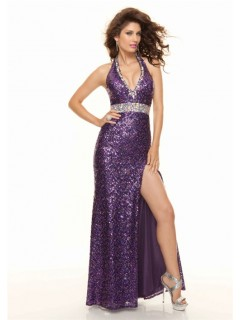 Sheath halter v neck floor length sequined purple prom dress