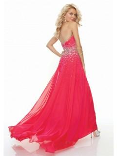 Sheath sweetheart floor length red chiffon prom dress with beading