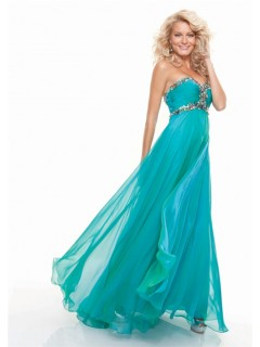 Sheath sweetheart long turquoise chiffon prom dress with beading