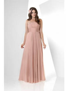 Simple A Line Strapless Long Peach Chiffon Draped Wedding Guest Bridesmaid Dress