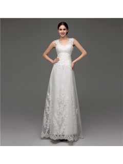 Slim A Line Illusion See Through Back Lace Destination Wedding Dress