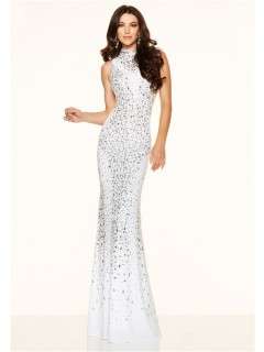 Slim High Neck Side Cut Out Long White Jersey Beaded Prom Dress