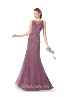 Slim Mermaid Boat Neck Dusty Rose Tulle Lace Evening Dress