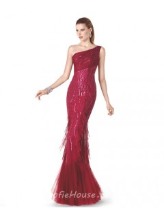 Slim Mermaid One Shoulder Red Tulle Ruffle Sparkly Sequin Special Occasion Evening Dress