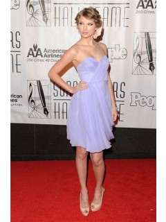 Spaghetti Strap Short Lavender Purple Chiffon Taylor Swift Dress