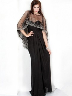 Sparkle Sheath Long Black Chiffon Evening Prom Dress With Beaded Sequins Shawl
