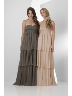 Strapless Empire Waist Long Champagne Chiffon Ruffle Tiered Occasion Bridesmaid Dress With Belt