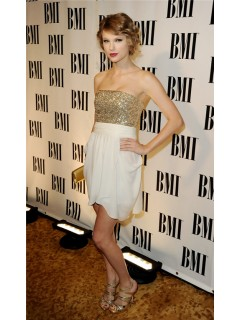 Strapless Short Champagne Sequins Taylor Swift Inspired Dress