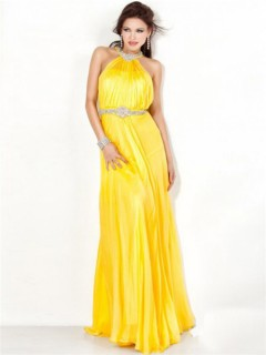Stunning A Line Halter Backless Long Yellow Chiffon Evening Dress With Beading Belt