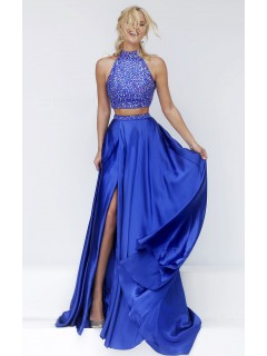 Stunning Halter High Slit Two Piece Long Royal Blue Satin Beaded Prom Dress