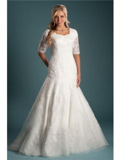 Trumpet Mermaid Short Sleeve Lace Modest Wedding Dress With Buttons