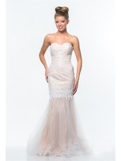 Trumpet Mermaid Sweetheart Nude Tulle Lace Beaded Evening Prom Dress