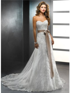 Trumpet/ Mermaid Sweetheart Vintage Lace Wedding Dress With Detachable Train And Sash