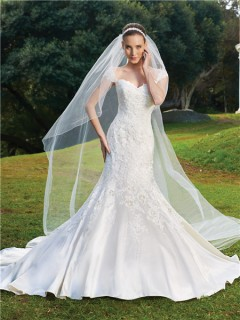 Trumpet/Mermaid cap sleeve court train satin wedding dress with appliques
