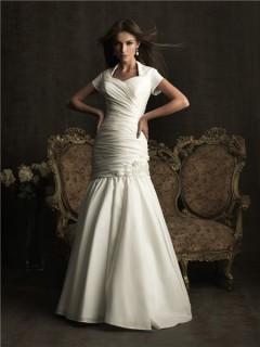Trumpet/ Mermaid high neck short sleeves taffeta wedding dress