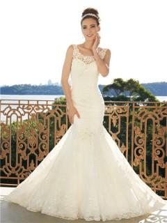 Trumpet/Mermaid scoop court train low back wedding dress
