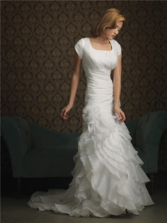 Trumpet/ Mermaid square sweep train cap sleeve ruffles wedding dress