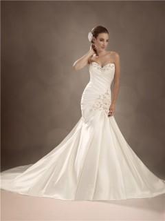 Trumpet/Mermaid sweetheart chapel train satin wedding gown