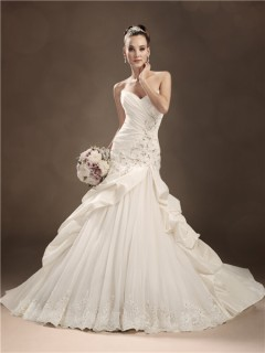 Trumpet/Mermaid sweetheart chapel train taffeta beaded wedding dress