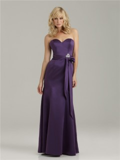 Trumpet/Mermaid sweetheart floor length long purple satin bridesmaid dress with sash