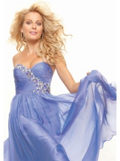 Elegant princess sweetheart long lavender chiffon prom dress with beading