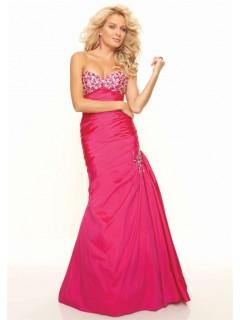 Trumpet/Mermaid sweetheart long red taffeta prom dress with beading