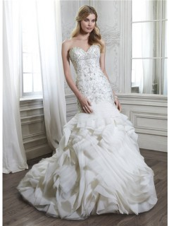 Unique Mermaid Strapless Low Back Satin Beaded Organza Ruffle Layered Wedding Dress