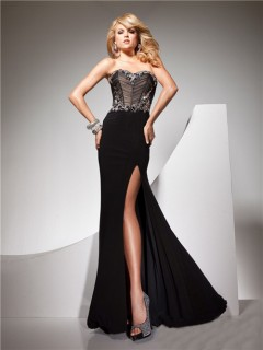 Unique Sexy Sweetheart Long Black Chiffon Beaded Evening Prom Dress With Open Back