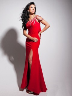 Unusual One Shoulder Asymmetric Backless Long Red Chiffon Prom Dress With Beading Straps