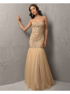 Vintage Mermaid Sweetheart Long Khaki Tulle Beading Evening Wear Dress