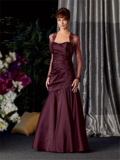 Vintage long Burgundy taffeta mother of the bride dress with jacket