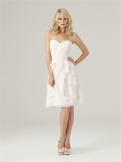 A line Princess knee length short white chiffon ruffle layered bridesmaid dress